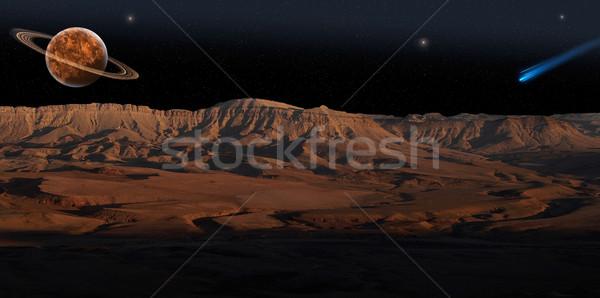 Piros bolygó panoráma panorámakép kilátás csillagos ég Stock fotó © rglinsky77