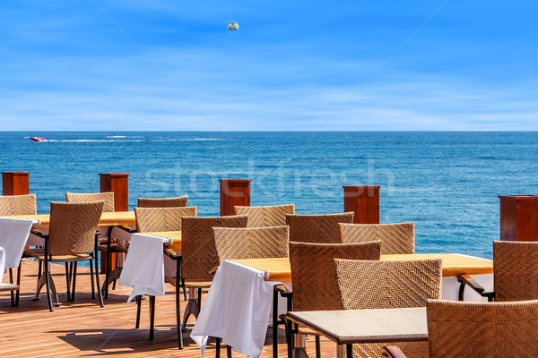 Restaurant on terrace with sea view in Kemer, Turkey. Stock photo © rglinsky77