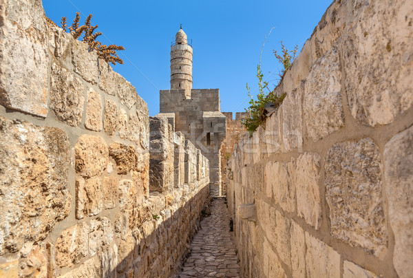 Tower of David and ancient walls in Jerusalem. Stock photo © rglinsky77
