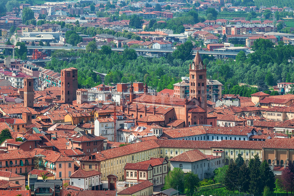 Cidade velha Itália típico italiano casas vermelho Foto stock © rglinsky77