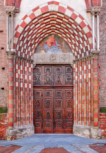 öreg fából készült ajtó bejárat katolikus templom Stock fotó © rglinsky77
