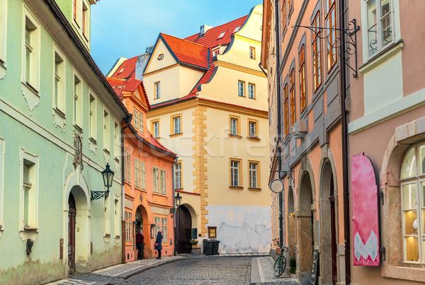 Alten Prag charakteristisch Ansicht schmal Kopfsteinpflaster Stock foto © rglinsky77