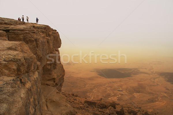 Rupe cratere deserto Israele panorama pietra Foto d'archivio © rglinsky77