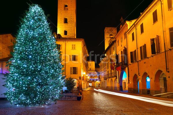 Christmas tree on central plaza. Alba, Italy. Stock photo © rglinsky77