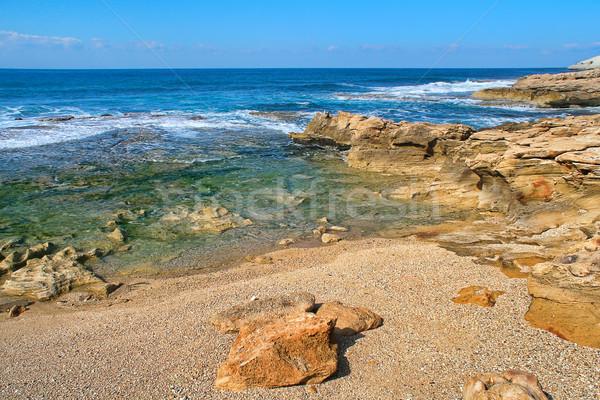 Rezerv İsrail dalgalar kayalar akdeniz deniz Stok fotoğraf © rglinsky77