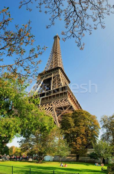 Eyfel Kulesi dikey görüntü ünlü Paris Fransa Stok fotoğraf © rglinsky77