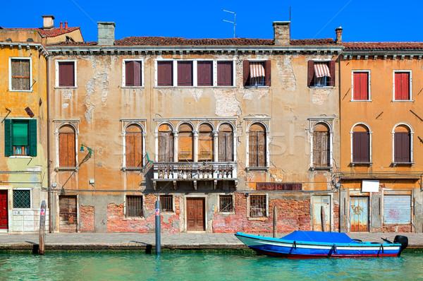 Eski renkli ev dar kanal Venedik Stok fotoğraf © rglinsky77