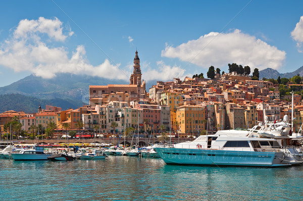 View of marina and old part of Menton, France. Stock photo © rglinsky77