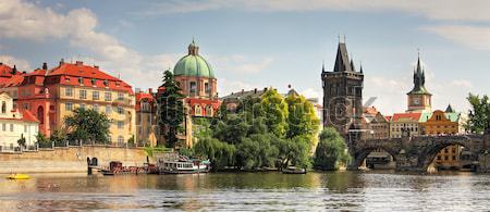 Vltava river and Charles Bridge in Prague. Stock photo © rglinsky77
