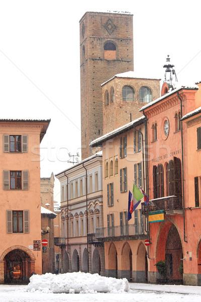 City center at snowfall. Alba, Italy. Stock photo © rglinsky77