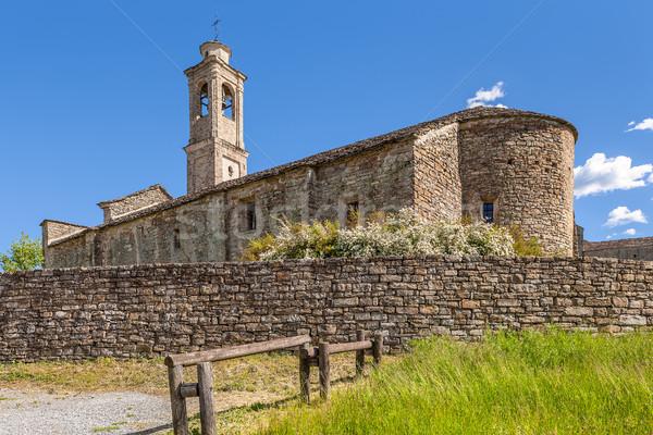 Eski kilise İtalya taş mavi gökyüzü kasaba Stok fotoğraf © rglinsky77