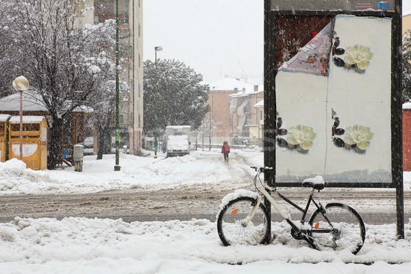Kar yağışı şehir İtalya sokaklarda yol kapalı Stok fotoğraf © rglinsky77
