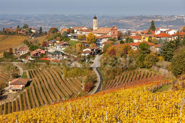 Sonbahar küçük İtalyan kasaba sarı Stok fotoğraf © rglinsky77