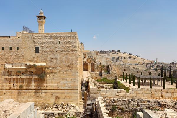 Minaret vieux ruines Jérusalem Israël mosquée Photo stock © rglinsky77