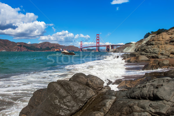 Rocky shoreline and Golden Gate Bridge in San Francisco. Stock photo © rglinsky77