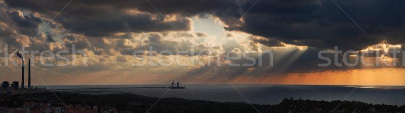 Panorama gün batımı akdeniz deniz panoramik görmek Stok fotoğraf © rglinsky77