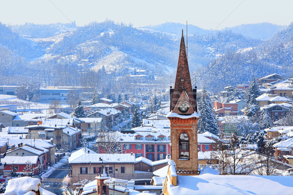 Small town covered with snow. Piedmont, Italy. Stock photo © rglinsky77