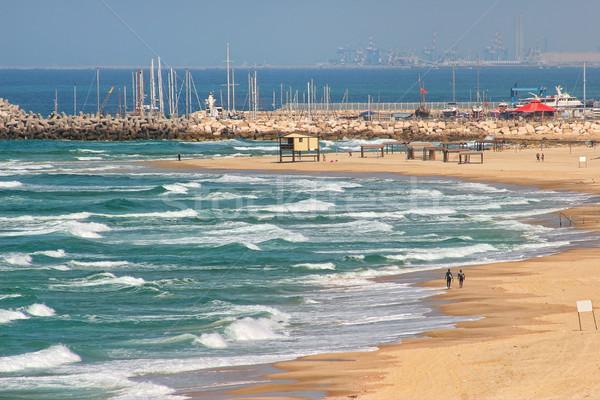 Strand middellandse zee zee Israël mooie Stockfoto © rglinsky77