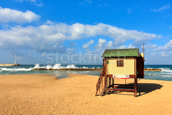 Lifeguard tower on the beach on Mediterranean sea. Stock photo © rglinsky77