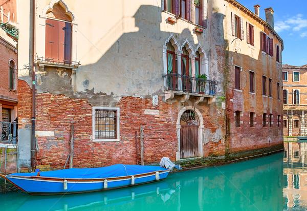 Küçük kanal Venedik İtalya tekne dar Stok fotoğraf © rglinsky77