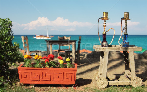 Two traditional turkish waterpipes (nargile) on the table in out Stock photo © rglinsky77