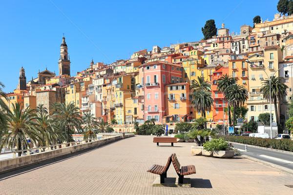Promenade stad Frankrijk oude middeleeuwse Stockfoto © rglinsky77