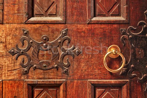 Houten deur gouden behandelen oude Stockfoto © rglinsky77