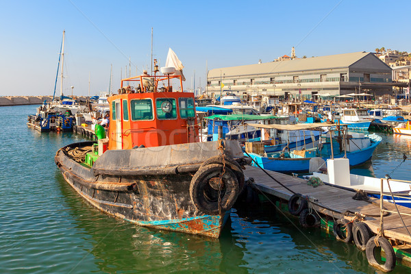 Old fisherman boat in jaffa, Israel. Stock photo © rglinsky77