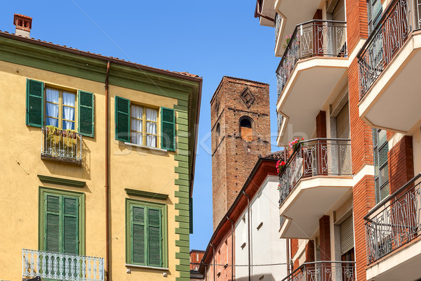 Mimari İtalya ortaçağ kule tipik İtalyan Stok fotoğraf © rglinsky77