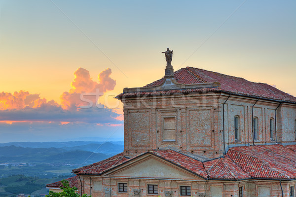 Fragment of church at sunset in Piedmont, Italy. Stock photo © rglinsky77