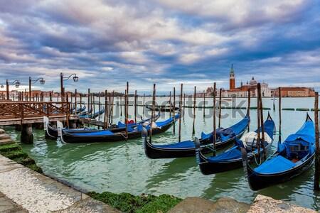 Kanal gün batımı Venedik bazilika güzel Stok fotoğraf © rglinsky77
