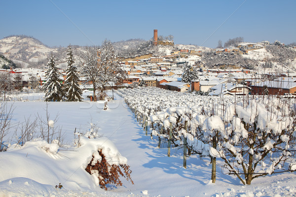 Small town covered by snow in Piedmont, Italy. Stock photo © rglinsky77