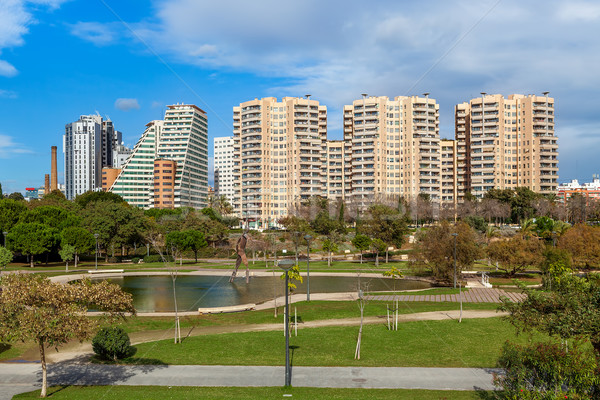 Turia park and modern buildings in Valencia, Spain. Stock photo © rglinsky77