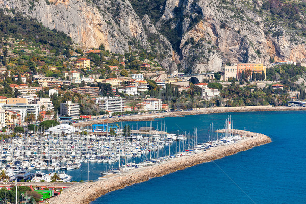 Marina with yachts along shoreline of Menton. Stock photo © rglinsky77