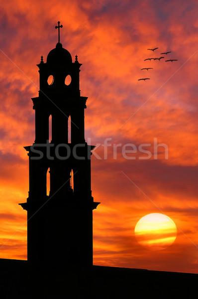Church silhouette against beautiful sky. Stock photo © rglinsky77