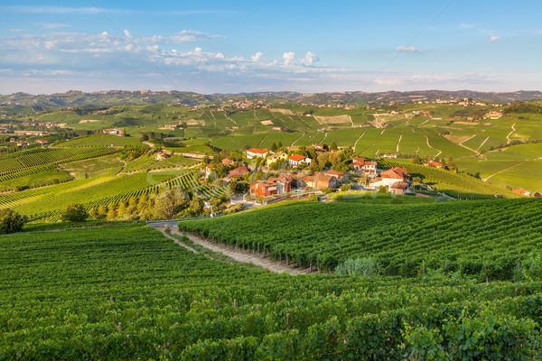 Küçük köy yeşil gün batımı kuzey İtalya Stok fotoğraf © rglinsky77