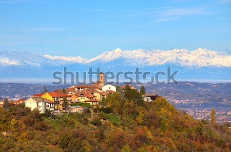 Small town on the hill and snowy mountains on background. Stock photo © rglinsky77