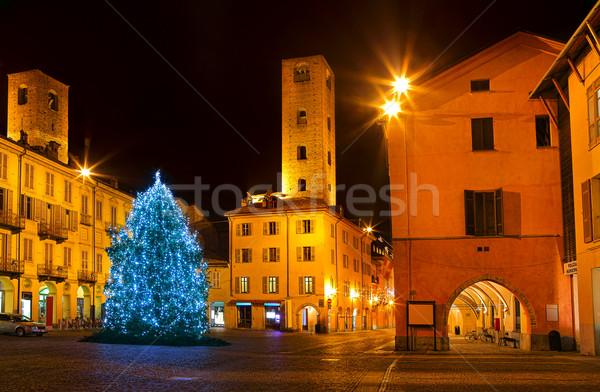 Christmas tree on city square in Alba, Italy. Stock photo © rglinsky77