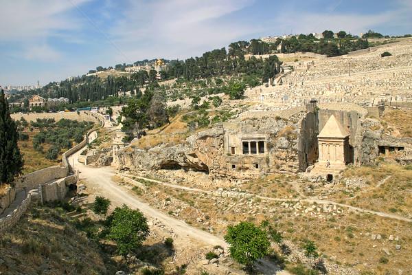 Eski mezarlık Kudüs İsrail mezar rahip Stok fotoğraf © rglinsky77