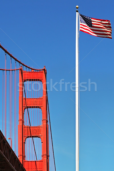 Golden Gate Bridge americano bandeira vertical imagem Foto stock © rglinsky77