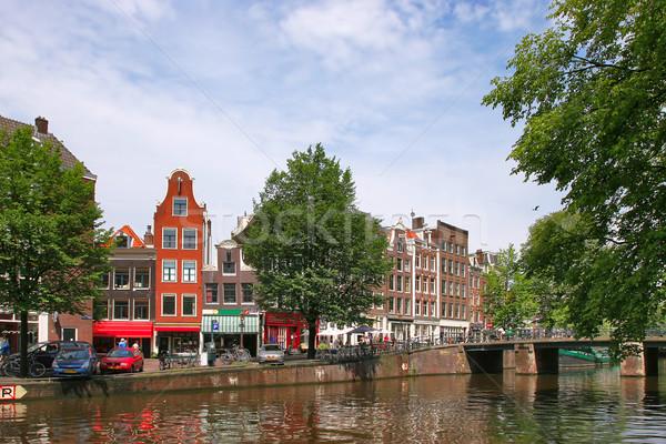 Amsterdam stadsgezicht straten huizen stad kanaal Stockfoto © rglinsky77