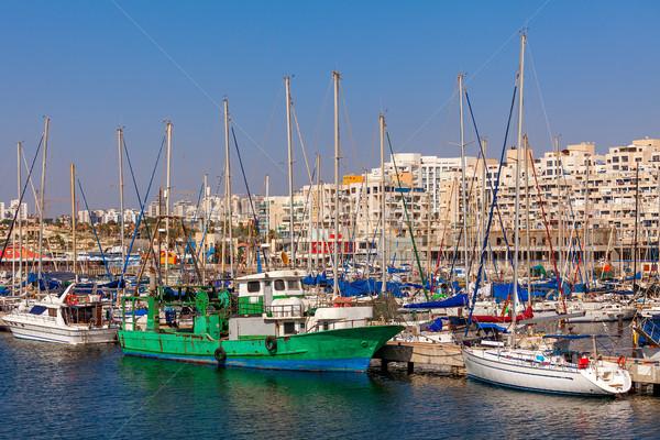 Marina tekneler sahil şehir akdeniz deniz Stok fotoğraf © rglinsky77