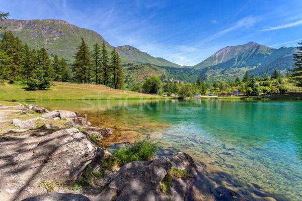 Pequeno alpino lago montanhas norte natureza Foto stock © rglinsky77