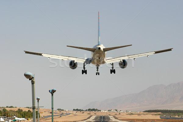 Avião aterrissagem poucos momentos vôo turista Foto stock © rglinsky77