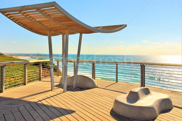 Promenade mer Israël vue bois Photo stock © rglinsky77