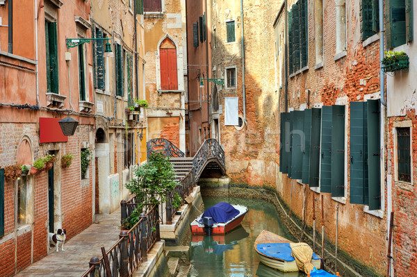 Small canal among buildings. Venice, Italy. Stock photo © rglinsky77