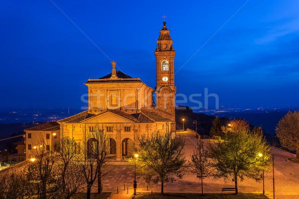 Iluminado católico iglesia amanecer ciudad cuadrados Foto stock © rglinsky77