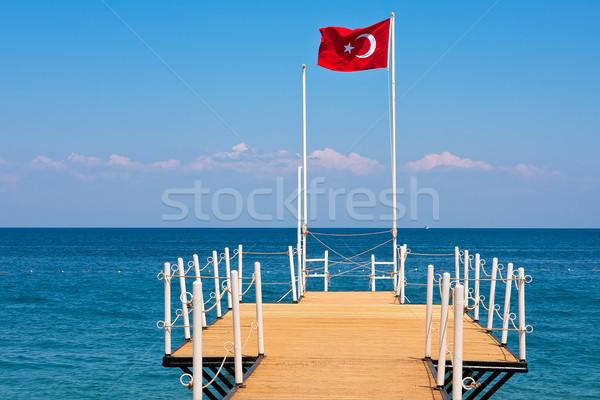 Török zászló kicsi móló Törökország fából készült Stock fotó © rglinsky77