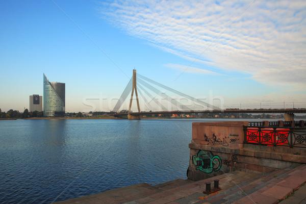 Modern bina köprü nehir görmek Riga Letonya Stok fotoğraf © rglinsky77