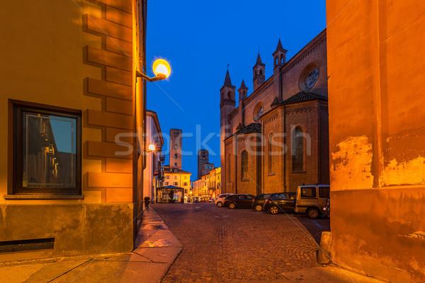 Gece görmek dar sokak evler kilise Stok fotoğraf © rglinsky77